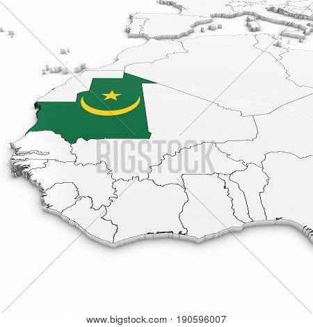 3D Map Of Mauritania With Mauritanian Flag On White Background 3D Illustration