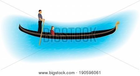 Venice romantic gondolier carries a woman in a gondola. Italian man profession for tourists. Isolated on a white background with part of water. EPS10 vector illustration.