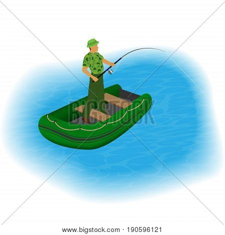 Fisherman standing in a inflatable boat with fishing rod and stretched line. Fisher character on a lake taking fish from water. People outdoor activity. Vector illustration.