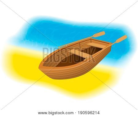 Wood rowboat on the beach. Sailing boat with paddles standing on a sand shore of sea. Vector illustration.