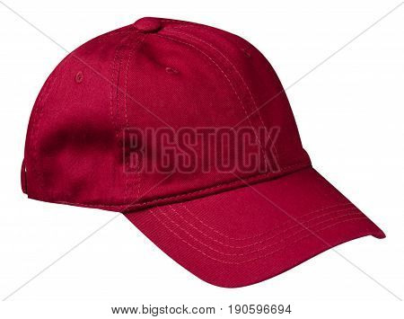 Cap Isolated On White Background. Cap With A Visor . Red Cap