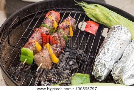 Beef And Vegetable Kabobs On Grill