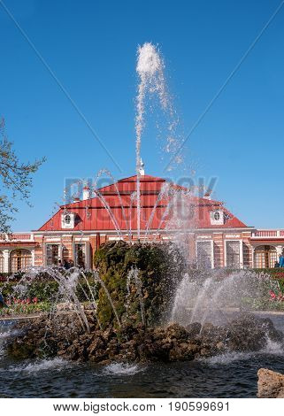 Petergof, Russia - June 5, 2017: Chinese garden in the bath complex. The lower park of the Peterhof Palace. A miniature landscape garden was broken up for the Empress Maria Alexandrovna.