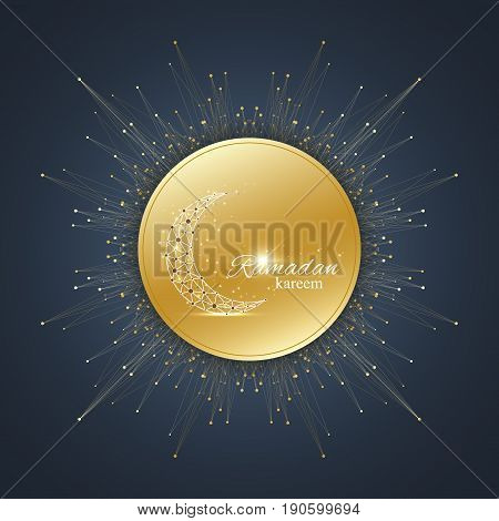 Ramadan Kareem text greetings background. Golden moon made from connected line and dots.Black background with golden mandala decoration. Eid Mubarak celebration. Vector illustration