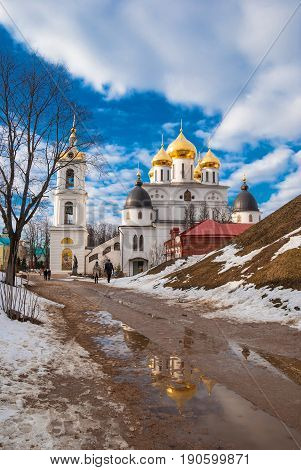 The Assumption Cathedral on the territory of the ancient city Kremlin in the ancient Russian city of Dmitrov. Russia, Dmitrov. March 7, 2015