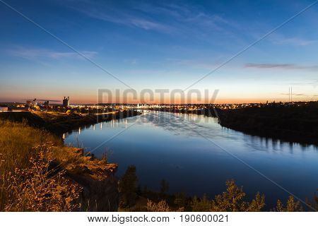 City lights of Great Falls Montana over the Missouri River.