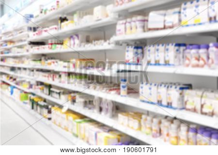 Medicine placed in shelves at Pharmacy. Side View of medicines, health products and health food in defocus.