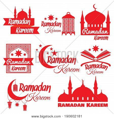 Set of icons for Islamic month of Ramadan. Illustration for muslim holy month Ramadan with mosque, crescent moon, lantern. Vector