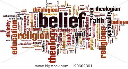 Belief word cloud concept. Vector illustration on white