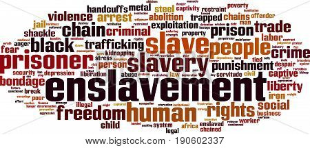 Enslavement word cloud concept. Vector illustration on white