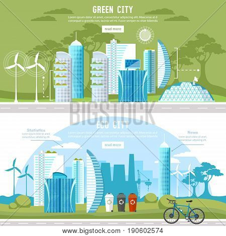 Green city banner. Eco city background urban landscape. Future energy city solar panels windmills. Harmony ecology city and nature design template