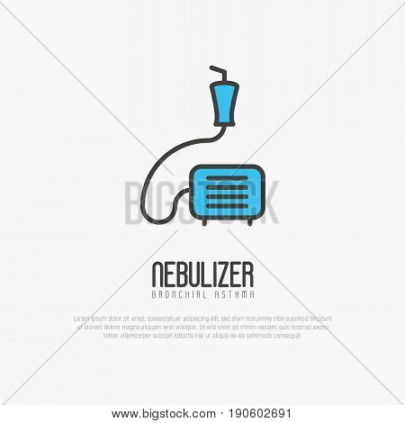 Nebulizer thin line icon from asthma and respiratory diseases. Simple vector illustration.