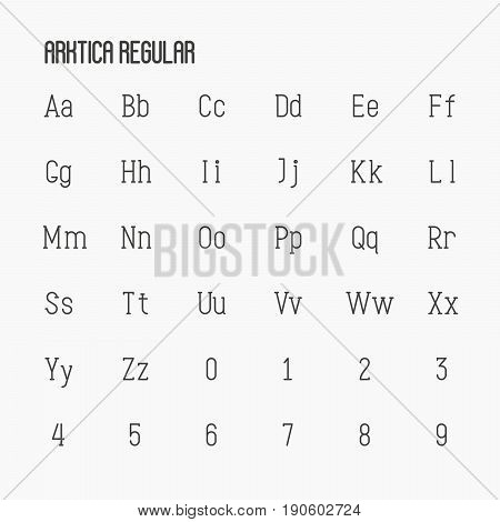 Thin serif font contains uppercase, lowercase and numbers. Minimalistic typescript ideal for logotypes. Vector illustration.