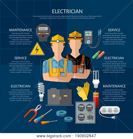 Professional electrician infographics. Electricity tools installation and repair. Electrical equipment presentation template