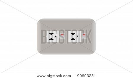 Two Plug On White  Wall Vector