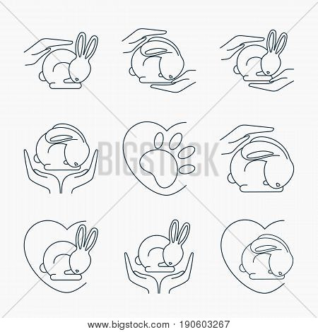 Animal cruelty free logo. Not tested on animals symbol set