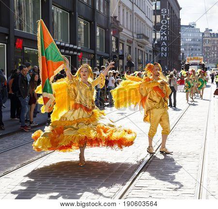 HELSINKI FINLAND - JUNE 10 2017: Helsinki Samba Carnaval celebration on the streets of Helsinki Finland on June 10 2017