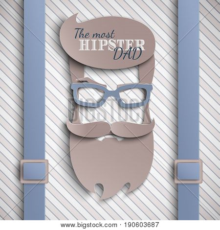 Happy Fathers Day card design for male event banner poster. Striped beige background with suspenders paper cut hipster men's face silhouette with beard mustache blue glasses. Vector illustration