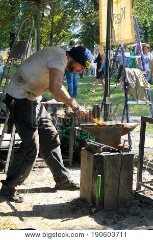 Blacksmith At Work On The Festival Of Blacksmiths