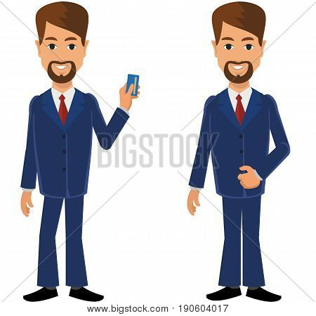 Flat businessman in a business suit, hand gestures