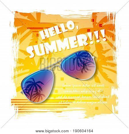 Summer background with colorful sunglasses and sample text