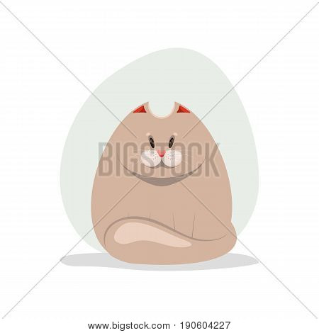 Vector illustration of cute fatty cat. Cartoon character