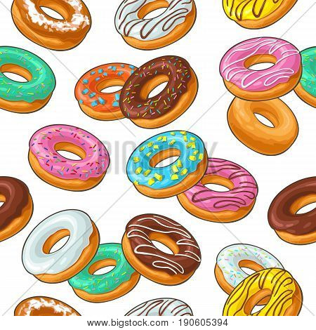 Seamless pattern set donut with different icing, glaze, stripes, sprinkles. Vector colorful flat illustration for poster, banner, menu bakery shop. Isolated on the white background.