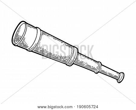 Spyglass telescope lens isolated on white background. Vector black vintage engraving illustration for tattoo, web and label. Hand drawn in a graphic style.