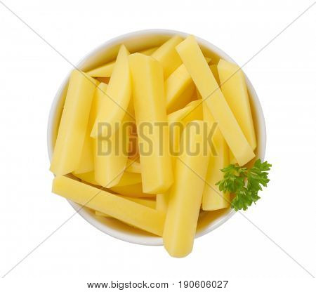 bowl of raw chipped potatoes