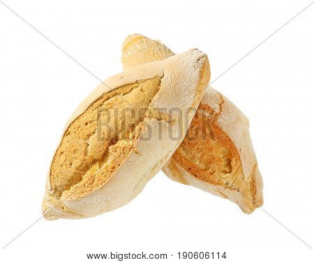 two diamond shaped rustic bread rolls on white background