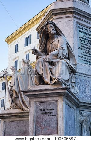 Biblical Statues at the base of the Colonna della Immacolata in Rome, autumn Italy