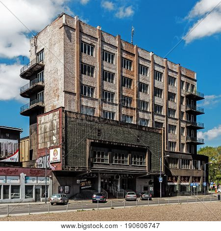 KATOWICE, POLAND - MAY 1, 2017: Silesian Insurgent House built in 1937 in the style of Functionalism. Building is one of the most interesting examples of modernistic architecture in the city.