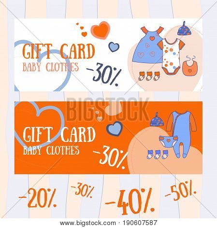 Baby shop discounts. Cute hand drawn banners. Baby toys, clothes