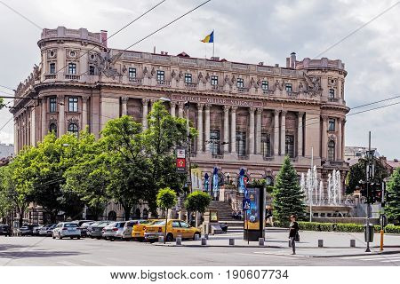 BUCHAREST, ROMANIA - MAY 14, 2017: The Palace of the National Military Circle on Constantin Mile street, built in 1911 by architect Dimitrie Maimarolu in French neoclassical style.