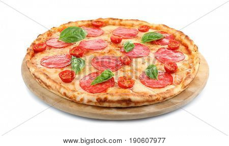 Pizza with salami isolated on white