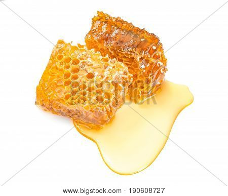 Sweet honeycomb top view isolated on white