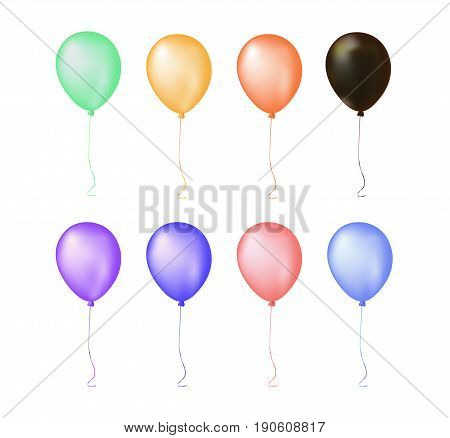 Isolated Group Colorful Gathering Event Air Balloon