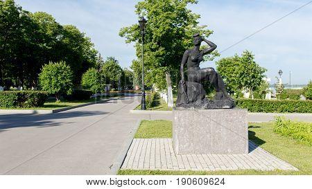 Samara Russia - June 2017 - Sculpture - Bather. The embankment of Samara Russia. Samara embankment in summer.