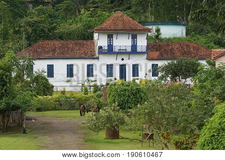 SAO JOAO DOS ANGOLARES, SAO TOME AND PRINCIPE - JANUARY 29, 2017: Former hospital of Roca Sao Joao dos Angolares on January 29, 2017 in Sao Tome, Africa