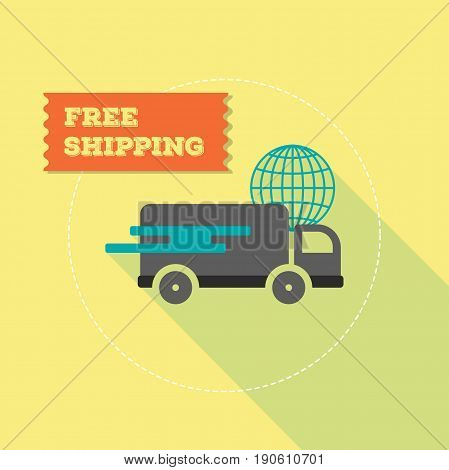 Free shipping icon with flat style illustration