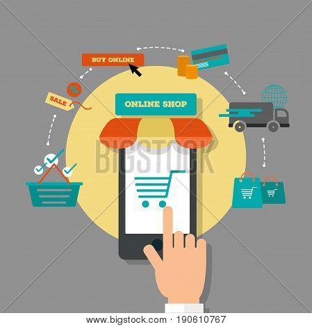 Online shopping infographics. E-commerce, online store, online payment