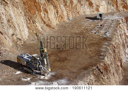 Preparation for demolishing in a rock quarry near Split town in Croatia