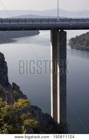 Krka bridge on highway A1 near town Skradin Croatia