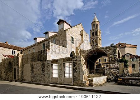 Town of Split Croatia - ethnography museum and cathedral in the Diocletian's palace