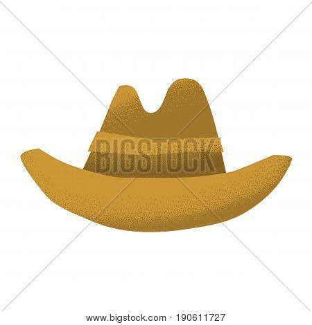Cartoon style grunge american western cowboy leather brown hat isolated vector illustration