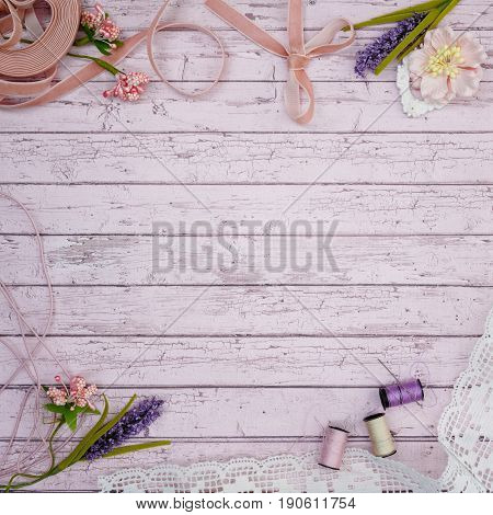 beautiful set of vintage pale pink materials for scrapbooking craft on wood design paper. Copy space.