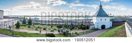 Kazan, Russia - August 5, 2016: A Panoramic View At The Wall Of Kazan Kremlin With Kazanka River On