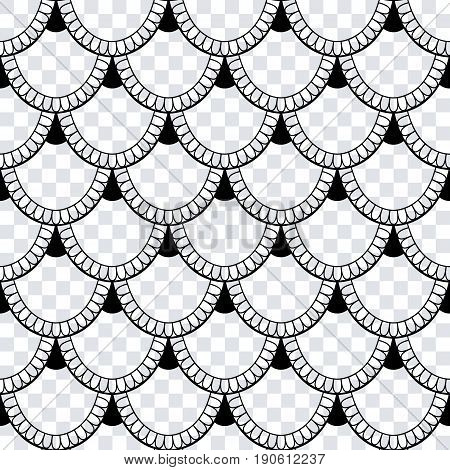 Seamless Pattern Of Fish Scales. Black Universal Fish And Mermaid Scales On A Transparent Background