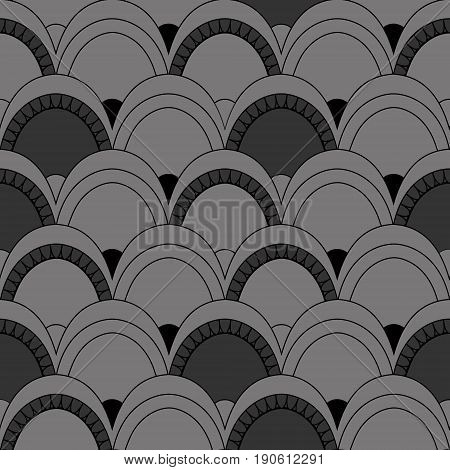 Seamless Pattern Of Fish Scales. Gray Universal Background With Animal Scales. Beautiful Background