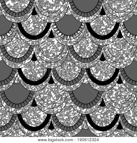 Seamless Pattern Of Fish Scales. Brilliant Background With Animal Scales. Beautiful Background For Y